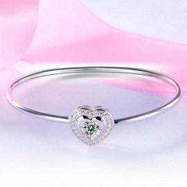image of Dancing Stone Heart Bangle Solid 925 Sterling Silver Bridal Wedding XFB8014