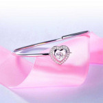 Dancing Stone Heart Bangle Solid 925 Sterling Silver Bridal Wedding XFB8014