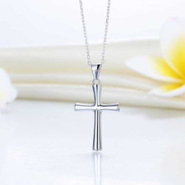 image of Solid 925 Sterling Silver Cross Pendant Necklace