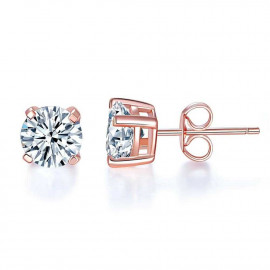 image of 1 Carat Created Diamond Stud Earrings 925 Sterling Silver Rose Gold Plated XFE8151