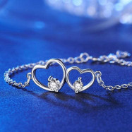 image of Solid 925 Sterling Silver Bracelet Double Heart Bridesmaid Wedding Gift XFB8019