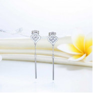 image of Elegant Solid 925 Sterling Silver Earrings Dangle Flowers Created Diamonds