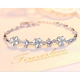 image of S999 Pure Silver Four Leaf Clover Bracelet