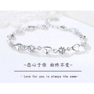 image of S999 Pure Silver Love Hearts Together Bracelet 爱心连心千足銀手链 S14