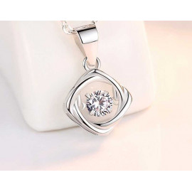 image of Dancing stone Solid 925 Sterling Silver Love Square Pendant Necklace 灵动爱心方形吊坠项链 D101
