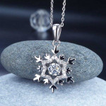 Dancing Stone Snowflake Pendant Necklace 925 Sterling Silver for Bridal Bridesmaid Gift XFN8055