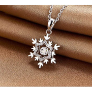 image of Dancing Stone Snowflake Pendant Necklace 925 Sterling Silver for Bridal Bridesmaid Gift XFN8055