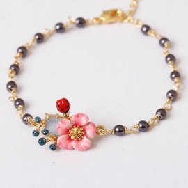 image of ????Flower Ladybird Beads France Style Enamel Bracelet 东方玫瑰系列手绘珐琅釉镀金宝石花朵手链????