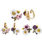 White Daisy Pollen Flower Hand Painted Enamel Glaze Earrings 浪漫田园风花草系列手绘珐琅彩釉白色雏菊花粉花不对称耳飾
