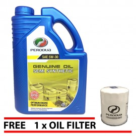image of Original PERODUA 5W30 Semi Synthetic Engine Oil 4L + Perodua Oil Filter 1pcs