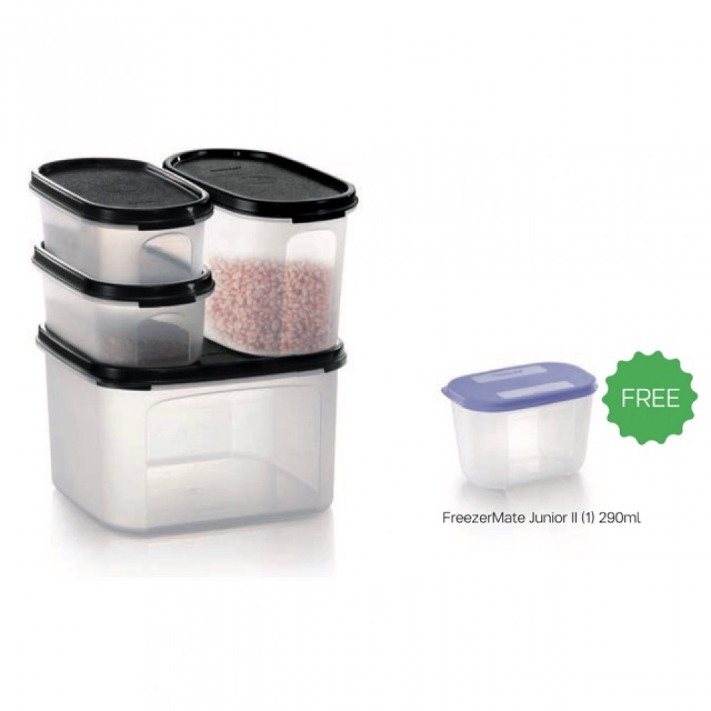 Tupperware Modular Mate 4 Pieces Starter Set- Black (FREE FreezerMate Junior II (1pcs) 290ml)