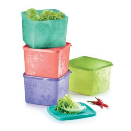 image of Tupperware Snowflake Medium Square Round (4pcs) 800ml