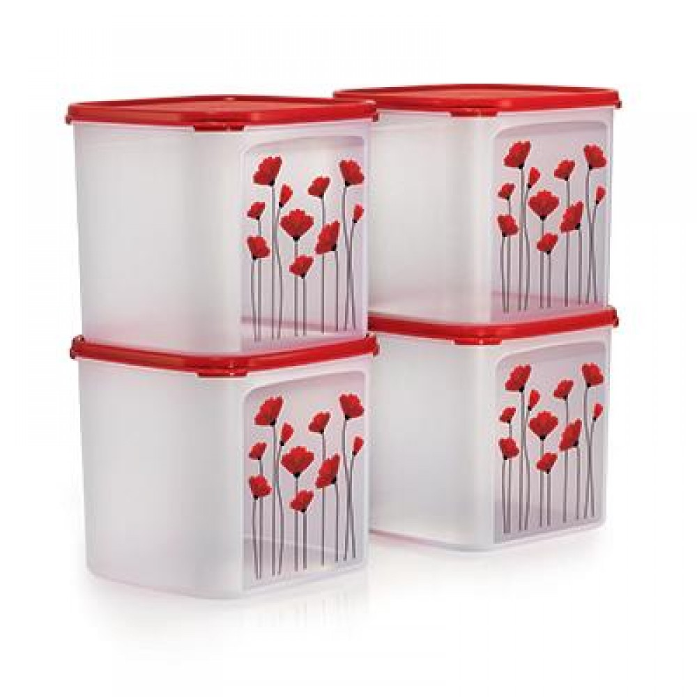 Tupperware RED POPPY GARDEN SET (4)