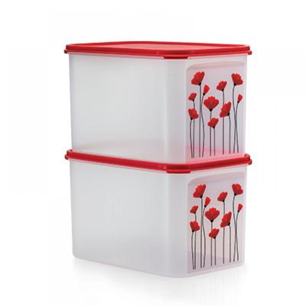 Tupperware Red Poppy Modular Mates (2)