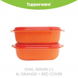 image of Tupperware Oval Server (1) 4L orange + red cover