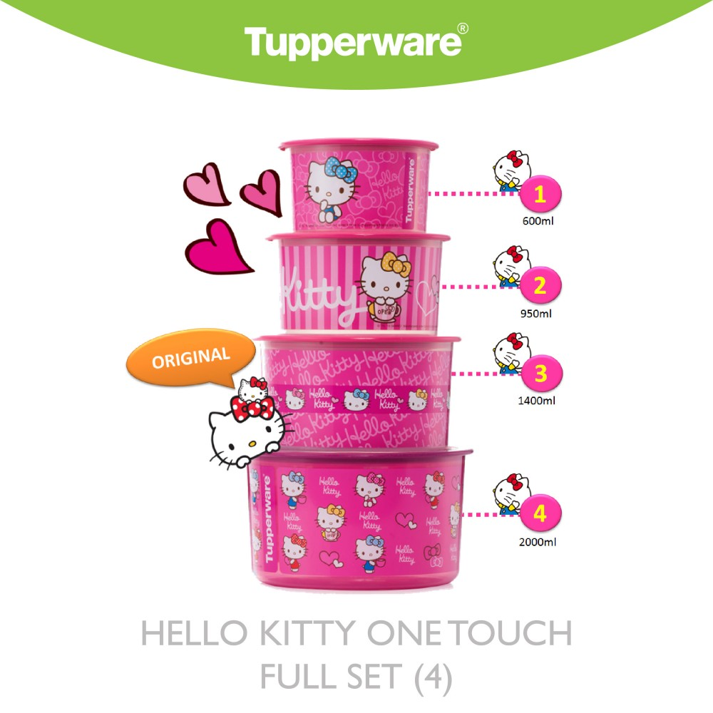Tupperware Hello Kitty One Touch Full Set (4)