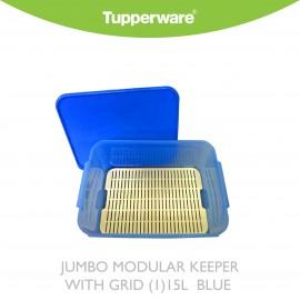 image of Tupperware Jumbo Modular Keeper with Grid (1) 15.0L Blue