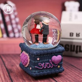 image of Couple Love Crystal Ball Music Box Glowing Snowflake 情侣水晶球