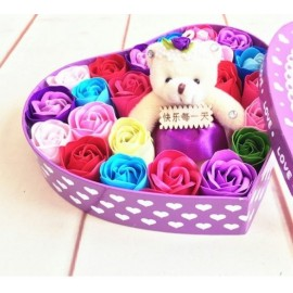 image of Soap Flower With Teddy Bear Gift Box - 18 Flowers