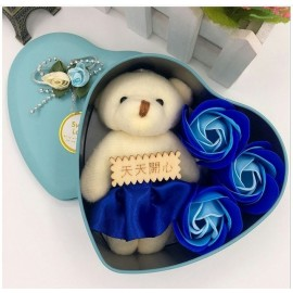 image of Soap Flower With Teddy Bear Gift Box - 3 Flowers
