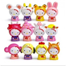 image of Hello Kitty Animal Suit Figurine Set x 12 pieces