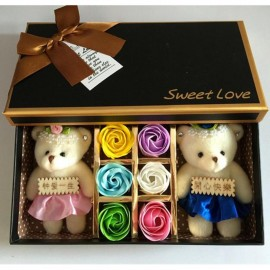 image of Soap Flower With 2 Teddy Bear Gift Box - 6 Flowers