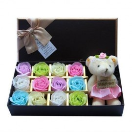 image of Soap Flower With Teddy Bear Gift Box - 12 Flowers