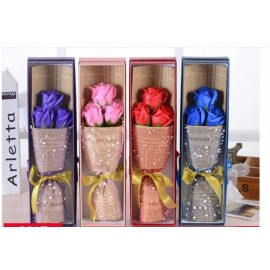 image of Soap Flower with Gift Box - 3 Flowers