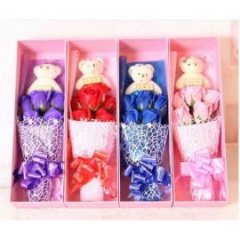 image of Soap Flower With Teddy Bear Gift Box - 5 Flowers