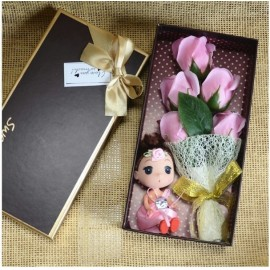 image of Soap Flower With Little Girl Plush Gift Box - 5 Flowers