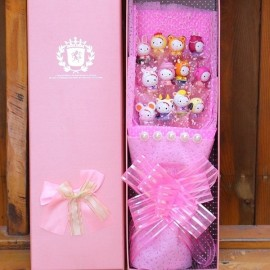image of Hello Kitty Flowers with Gift Box - 12 pieces
