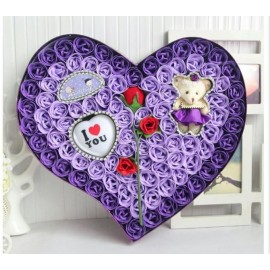 image of Soap Flower With Teddy Bear Gift Box - 92 Flowers