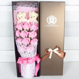 image of Soap Flower With 2 Teddy Bear Gift Box - 11 Flowers