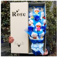 image of Soap Flower With 8 Doraemon Gift Box - 3 Flowers