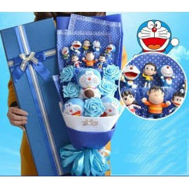 image of Doraemon Family Plush with Soap Gift - 10 Flowers