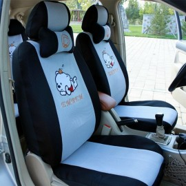 image of Cute Bear Full Set Car Seat Cover Seat with Head Pillow