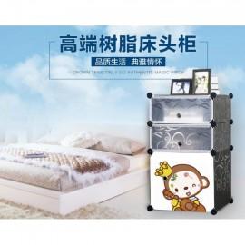 image of Cabinet 3 Cubes Monkey Bed-Sided DIY Storage Box - Black