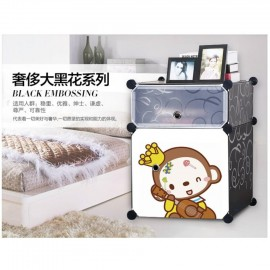 image of Cabinet 2 Cubes Monkey Bed-Sided DIY Storage Box - Black
