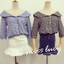 image of * Ready Stock * Gingham Checker Peter Pan Collar 3/4 Sleeve Top