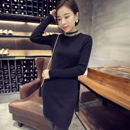 image of * Ready Stock * Black Beaded Embellishment Ribbed Knit Long Sleeve Dress