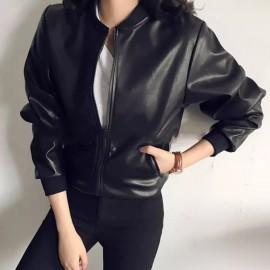 image of * Ready Stock * Black Bomber PU Leather Jacket