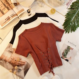 image of * Ready Stock * Alexa Corset Detail Drawstring Short Sleeve Knit Top
