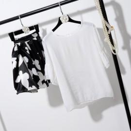 image of * Ready Stock * White Ruffles Top + Black & White Butterfly Skirt Set Wear