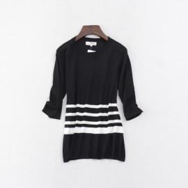 image of * Ready Stock * Black White Stripe  Knit 3/4 Sleeve Top