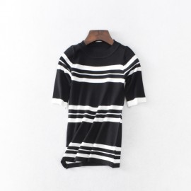 image of * Ready Stock * Black White Stripe High Collar Ribbed Knit Short Sleeve Top