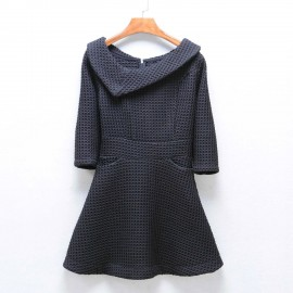 image of * Ready Stock * Black Collar Formal 3/4 Sleeve Skater Dress