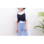 image of * Ready Stock * Black Eyelet Cami Crop Top