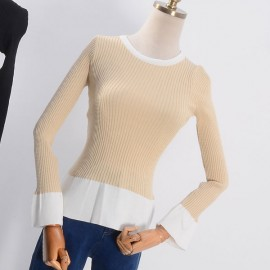 image of * Ready Stock * Bell Sleeve Ribbed Knit Long Sleeve Top
