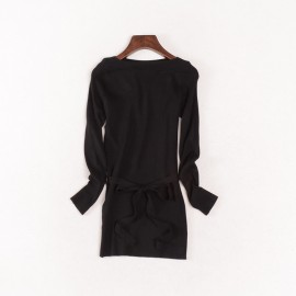 image of * Ready Stock * Black Boat Neck Ribbed Knit Long Sleeve Top