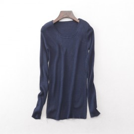 image of * Ready stock * Dark blue Ribbed Knit Long Sleeve Top